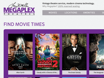Movie Theater Homepage ui ux
