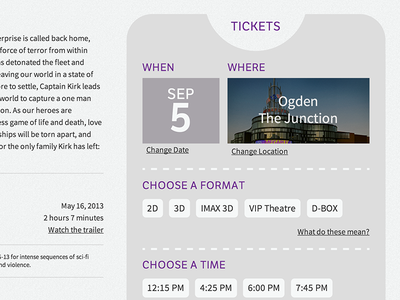 Movie Theatre Show Page ui ux