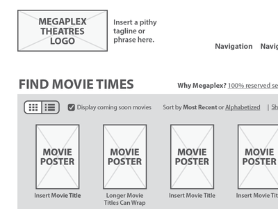 Movie Theatre Homepage Wireframe