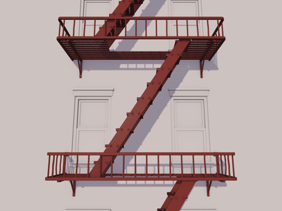 36 Days of Type - Z 3d loop apartment new york fire escape c4d cinema 4d 36 days of type 36daysoftype