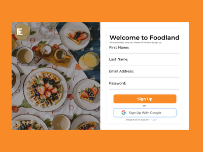#Food Land Signup Page - #DailyUI 001 uiux ux typography ui figma design