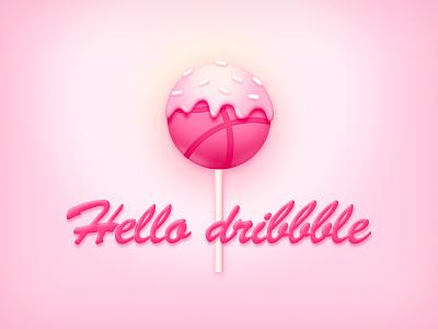 hello dribbble pink lolipop cake