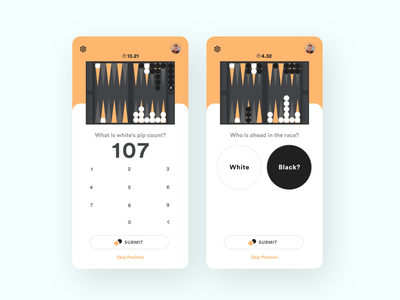 Backgammon Strategy App interface mobile interface design board game flat clean backgammon app
