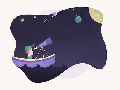 Star Gazing telescope water sky stars space people procreate illustration boat