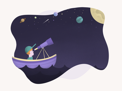 Star Gazing telescope water sky stars space people procreate illustration boat