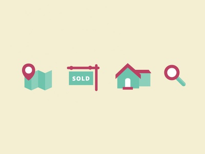 Real Estate Icons icons flat real estate illustration house sold map search