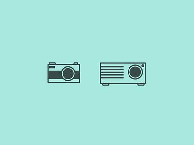 Camera & Projector icon flat projector camera