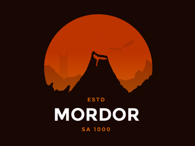 Mordor dragon volcano mountain mt doom illustration lord of the rings