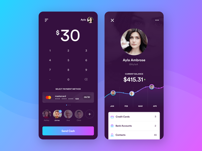 Cash Transfer App data visualization icons payment credit card ui gradient account profile mobile deposit banking app