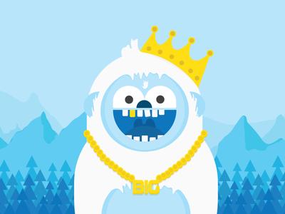 Biggie the Yeti cartoon illo blue bigfoot crown gold bling cute yeti illustration