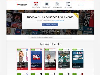 Livestream Homepage and Marketing