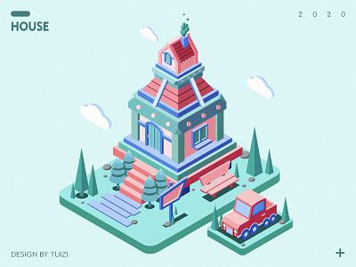 HOUSE isometric style illustration flat design