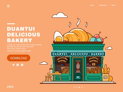 Delicious  Bakery illustration flat design
