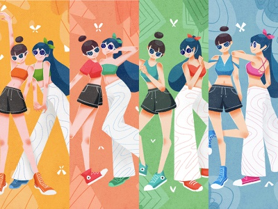 GIRLS illustration flat design