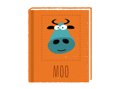 Moo book illustration moo cow