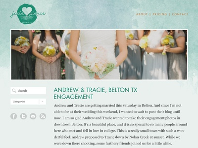 Jade Pierce Photography Website website wordpress watercolor photography