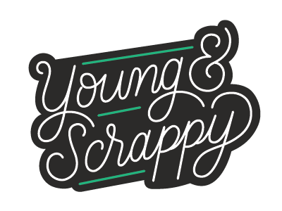 Young & Scrappy Patch Design patch design patch hand lettering script type lettering