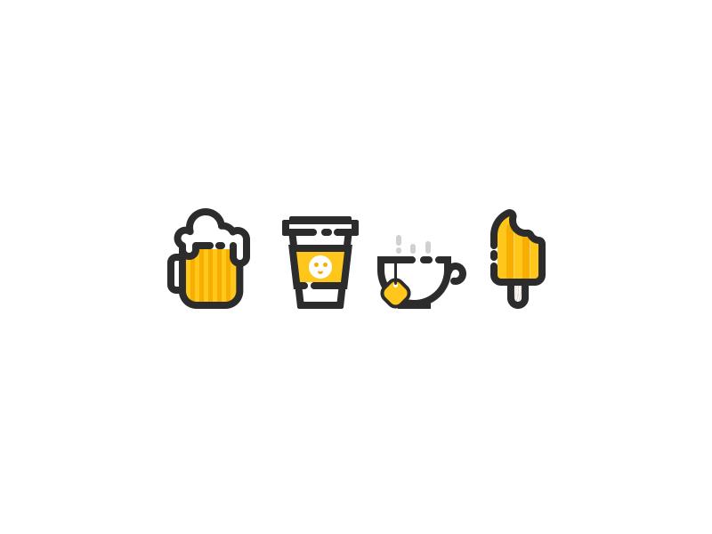 Icons cream ice coffee tea beer icon
