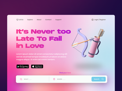 LUV.io - Landing Page ux ui gradient clean homepage landing page design website pink datting app datting love