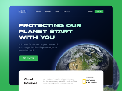 Saveearth.com - Landing Page nature space planet earth design website branding homepage clean ux ui landing page