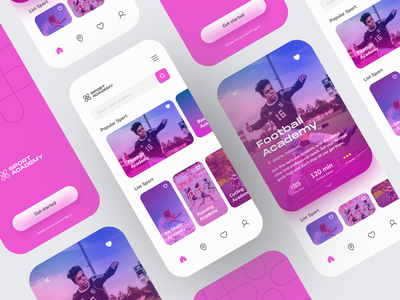 Sport Academy App purple football sports clean mobile design mobile app app design ux ui