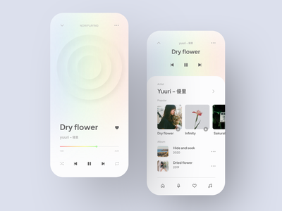 Music Player App gradient minimalist music app music player music mobile app mobile design app clean design ux ui
