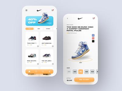 Nike Shoe Store App ios mobile store app nike shoes app shoes store shoes shoe minimalist clean mobile design mobile app app ux ui