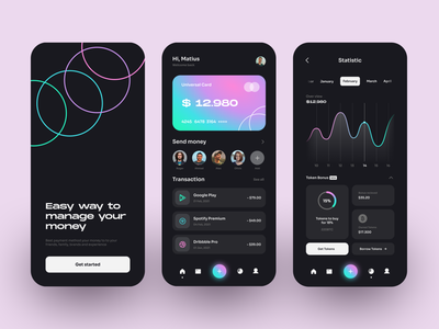 Finance App money app wallet app bank app bank chart statistic finance app finance black dark elegant gradient minimalist clean mobile design mobile app app design ux ui