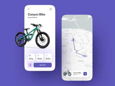 Bike Rental App ios bycicle rent app map rent ride bike minimalist mobile design mobile app app design clean ux ui