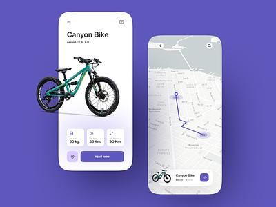 Bike Rental App ios bycicle rent app map rent ride bike minimalist mobile design mobile app app design clean ux ui