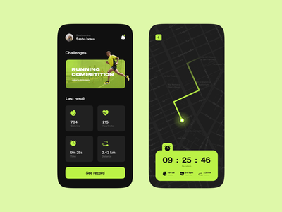 Running Tracker App green dark mode dark ui dark workout route map running app running run clean minimalist mobile design mobile app app design ux ui