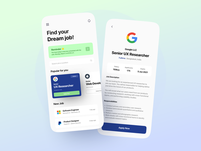 Job Finder App jobs employee offer hiring job board job application job portal job search job finder job ios minimalist mobile design mobile app app clean design ux ui