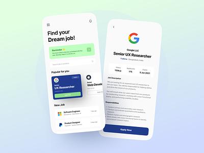 Job Finder App jobs employee offer hiring job board job application job portal job search job finder job ios minimalist mobile design mobile app app clean design ux ui