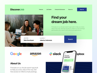 Job Finder Landing Page home page job board job seekers job finder job search job app job gradient minimalist clean landing page web design website design ux ui