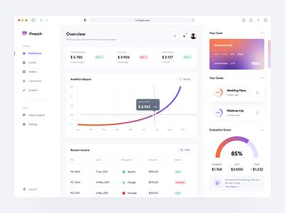 Finazch - Finance Dashboard financial payment report statistic fintech card wallet banking bank finance dashboard web app minimalist clean design ux ui
