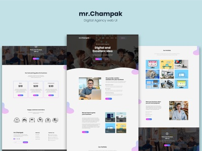 mr. Champak - Digital Agency website UI graphic design latest website web ux web ui minimal website