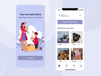 Mobile App - Pet Shelter splash pets animal adopt pet pet shelter figma app ux ui design