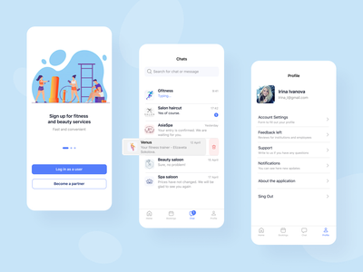 Fitness and beauty application design beauty mobile desing interface splash chat profile mobile app ux ui figma mobile app fitness