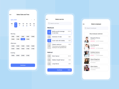 Fitness and beauty application schedule month time interface selection time employee selection service selection date selection online booking booking beauty saloon beauty design mobile app ux ui figma mobile app