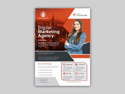 Corporate Flyer Template Template EPS marketing flyer flexible elegant editable creative corporate company communication commerce flyer clean business solution business agency advertising a4 size a4 photoshop