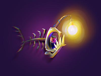 Inktober part 1 bulky wisp fish ipad illustration procreate inktober2020