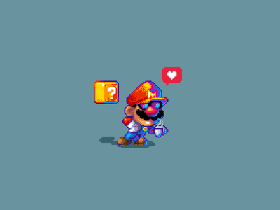 Mario Coffee Time pixelartist pixelstudio nintendo mariobros pixelart pixel ipad