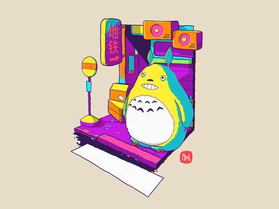 Totoro cartoon neon metro totoro forfun character procreate ipad illustration