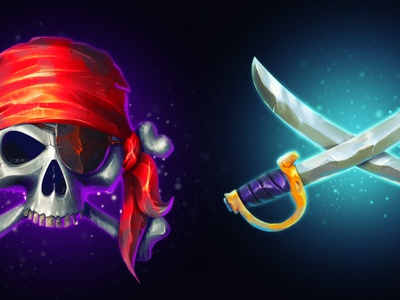 pirate theme saber skull pirate photoshop game icons
