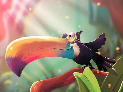 lost color forfun applepencil ipadpro tucan bird procreate illustration