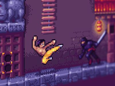 New BruceLee game arcade game oldschoolgame aseprite kungfu brucelee pixel pixelart arcade
