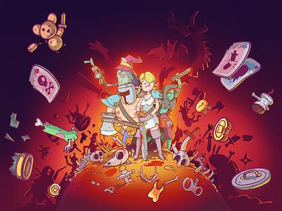 Dungeon Faster photoshop procreate character splashscreen illustration cardgame game splash