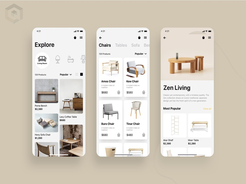 Home Furniture App UI Design For Client