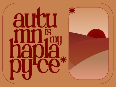 autmn is my happy place minimal typography design illustration