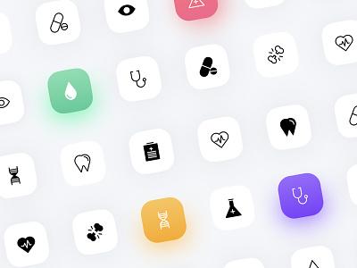 Personal doctor - Graphics icon set concert pattern healthcare ux design ui design